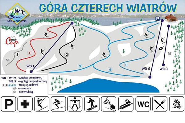 stoki narciarskie mazury gora 4 wiatrow mapka